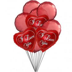 Love You Balloon Bouquet (6 balões de látex e 3-Mylar)