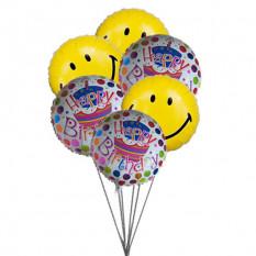 Balões de aniversario de smiley blue (6 balões de Mylar)