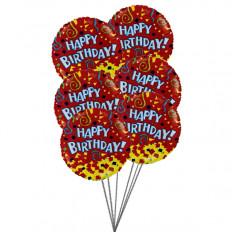 Balões de feliz aniversario com cor de amor (6 balões Mylar)
