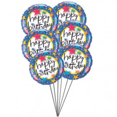 Balões Pinkish dizendo Feliz Aniversário (6 Mylar Balloons)