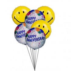 Balões do aniversário do smiley (6 balões de Mylar)