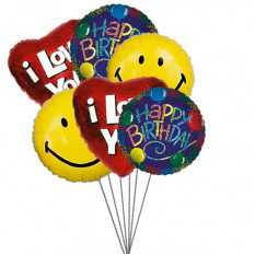 Aniversário bash balões cheios de amor, sorriso e desejos (6 Mylar Balloons)
