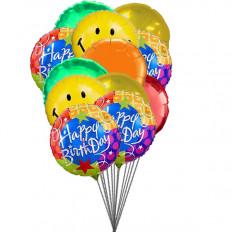 Balões de smiley que desejam feliz aniversário (6 balões de látex e 6-Mylar)