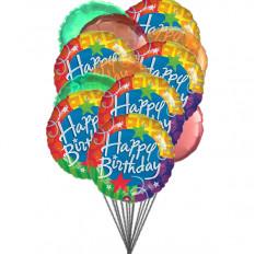 Feliz aniversário balões felizes (6-Mylar e 6-Latex Balloons)