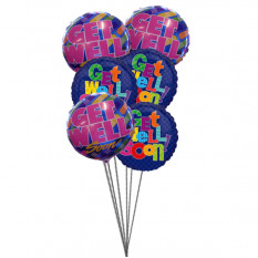 Bunch of Get Well Soon Balloons (6 Mylar Balloons)