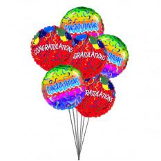 Parabéns com Balões (6 Mylar Balloons)