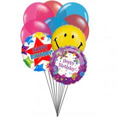 Balões de festa de aniversário (6 balões de látex e 3 mylares)