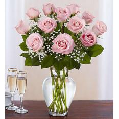 Rose Elegance Premium Rosas cor-de-rosa de tronco longo (12 Rosas cor-de-rosa de caule)