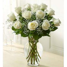 Rose Elegance Premium Long Stem Rosas brancas (12 Rosas brancas de caule)
