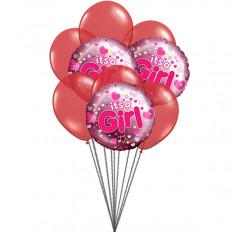É uma menina balões (6 Latex e 3 Mylar Balloons)