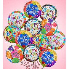 Air-Rangement - Birthday Mylar Balloons (One Dozen)