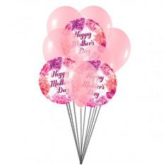 O Dia das Mães deseja Bouquet de Balões (6 Balões Látex e 3-Mylar)