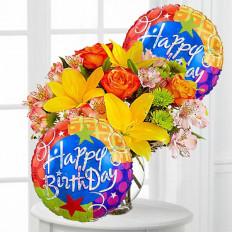 Cores de aniversário com flores