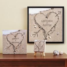 Coração em tela de areia