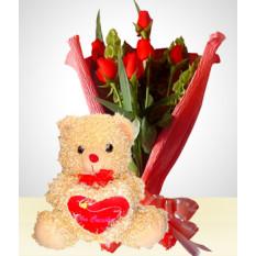 Combo Romance: Bouquet de 6 Rosas + Ursinho