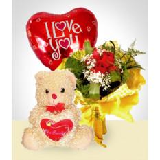 Combo de ternura: buquê de 6 rosas + balão + ursinho de pelúcia