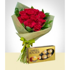 Tradition Combo: Bouquet de 12 rosas + Ferrero Rocher Chocolates Box