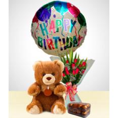 Birthday Combo A: Bouquet de 12 rosas + Urso + Chocolates + Balão de feliz aniversario