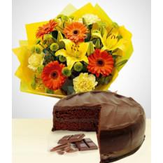Sweet Spring Combo: Gerberas Bouquet + Cake