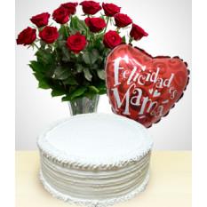 Feliz Dia das Mães Combo: Bolo + Buquê de 12 Rosas + Balão