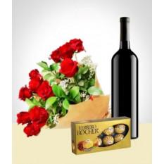 Elegance Combo: Bouquet de 12 rosas + Chocolates + Vinho