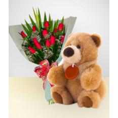 Caprice Combo: Bouquet de 12 rosas + Ursinho de pelúcia: