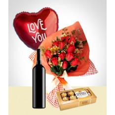 Inspiration Combo: Bouquet de 12 rosas + Balão + Vinho + Chocolates