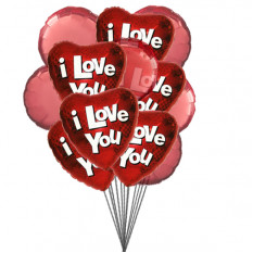 True Love Balloons (6-Mylar & 6-Latex Balloons)