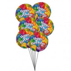 Balões no Aniversário (3 Latex e 3 Balões Mylar)