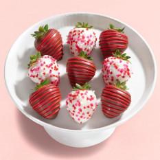 9 morangos com cobertura de chocolate Morangos com cobertura de chocolate (tamanho do divertimento)