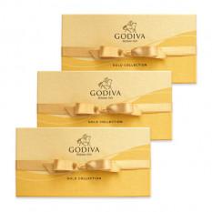 Assorted Chocolate Gold Gift Box, fita de ouro, conjunto de 3, 8 pc. cada