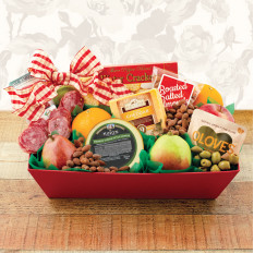 Cesta de Presentes Deluxe Fruit & Cheese