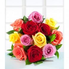12 Rosas Coloridas - Bolo