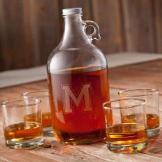 Whiskey Growler Set (4 óculos Lowball-64oz)