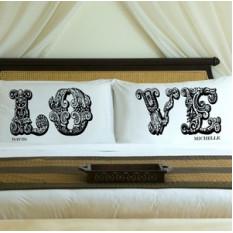 Conjuntos de capas de almofada de Casal de conexão personalizadas LOVE