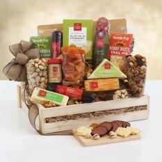 Deluxe carne e queijo cesta de madeira cesta de presente