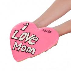Gigante amor mãe coração em forma de biscoito amanteigado de açúcar