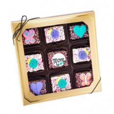 Dia das mães Chocolate mergulhado Mini Crispy Rice Barras caixa de presente da janela de 9