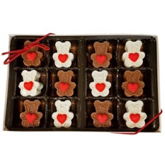 Sweet Heart Mini Chocolate Bears, caixa de presente de 12