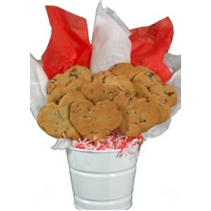 Bouquet de bolachas em forma de coração de chocolate
