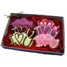 """Mão decorada """"eu te amo"""" caixa de presente de biscoitos"""
