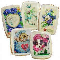 Biscoitos do cartão dos namorados do vintage, dúzia
