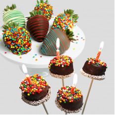 Feliz Aniversário Morangos & Brownie Pops